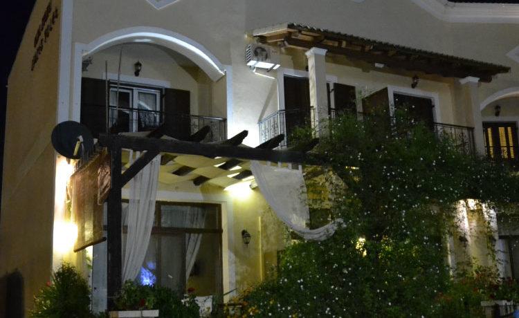 Exterior night view of Casa Evanti apartments in Sivota Greece