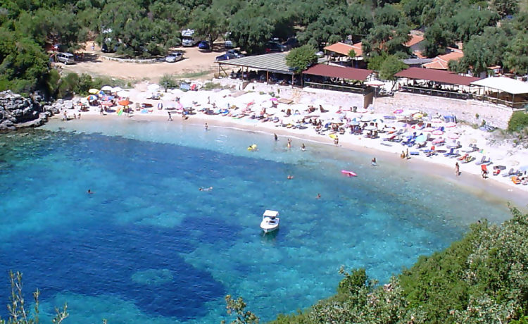 The beautiful Mikri Ammos beach in Sivota Greece