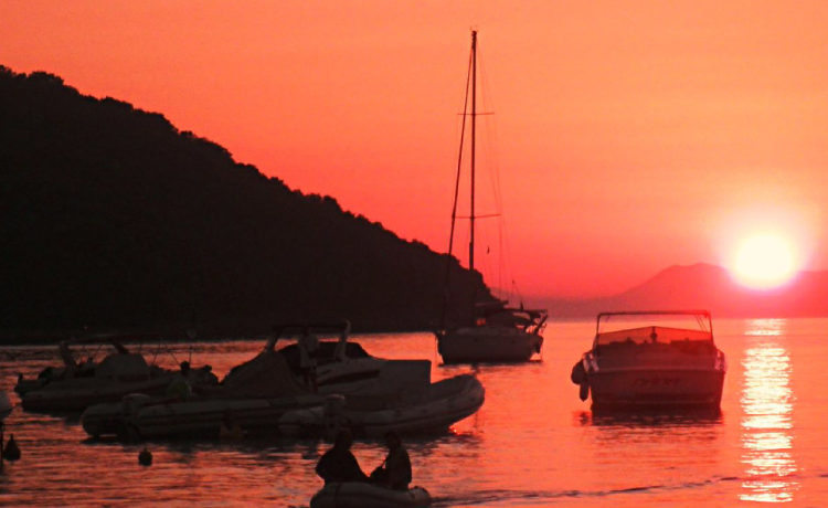 Sunset at the Ionian sea in Sivota Greece